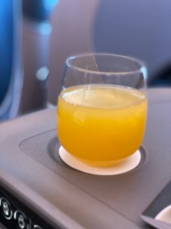 I got an orange juice for pre-departure drink