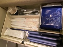 Other amenities can be found in the drawer in the lavatory