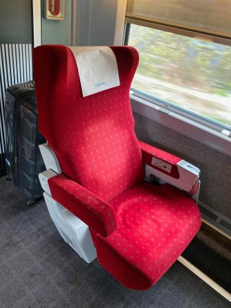 The very comfortable First Class seat on the KTX