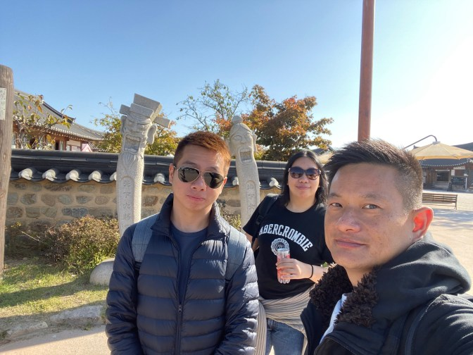 Taking a wefie at the entrance of Gyeongju Gyocho Village