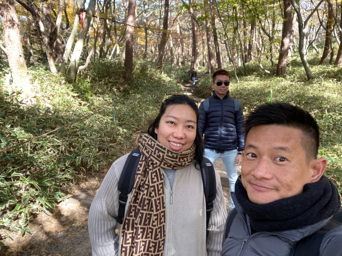 Wefie in the forested section of Yeongsil Trail