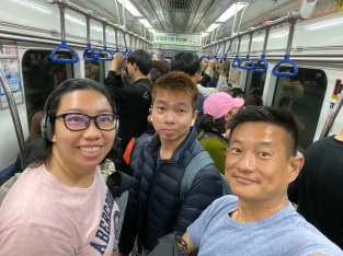 On the subway in Busan heading towards Busan Train Station