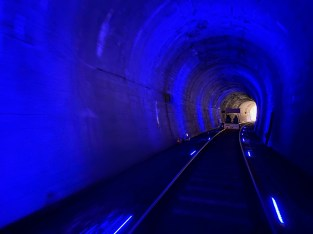 Lights turn from green to blue in the second tunnel