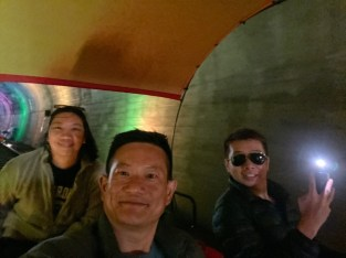 Taking a wefie in the second tunnel