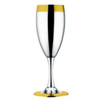"""Набор из 6 шт фужеров для шампанского """"Ла Перле""""- посеребренный с золотым декором от Цептер"""