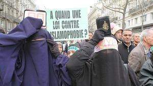 Muslims from France demonstrate during an Islamaphobia rally organised by a coalition of moderate Muslim groups in Paris, on February 11, 2006. The publication of cartoons depicting Prophet Muhammad publication in a Danish newspaper and the French newspaper Charly Hebdo which have provoked protests by Muslims around the world because images of the prophet are forbidden by Islam. Photo by Alain Apaydin/ABACAPRESS.COM