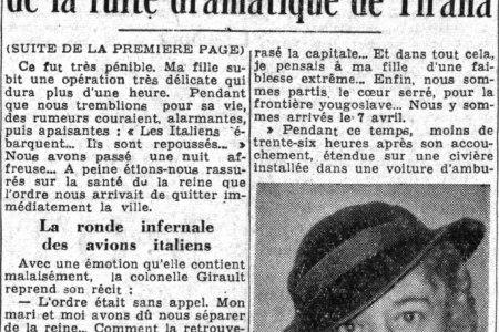 Paris-soir (1939) : Intervista e rrallë e nënës së mbretëreshës Geraldinë, Zonjës Girault. Ndarja e vështirë me të bijën dhe largimi dramatik nga Shqipëria