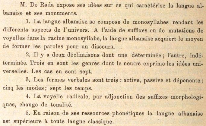 """Romë (1899) / Jeronim De Rada në Kongresin Ndërkombëtar të popujve të Lindjes : """"Gjuha shqipe është superiore ndaj çdo gjuhe klasike. Në të ka ende thesare të çmuara gjuhësore për shkencën."""""""