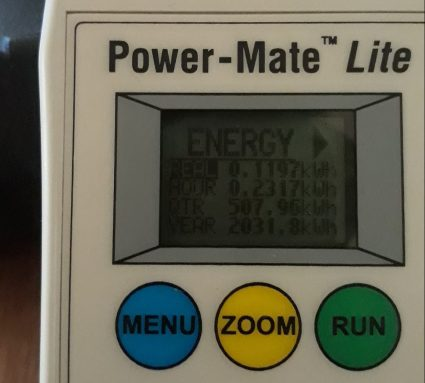 The reading from an energy monitor. It shows the total energy used while charging the batteries (0.11kWh). The other figures aren't so relevant because they assume you will keep charging at that rate forever. (good for measuring fridges though!)