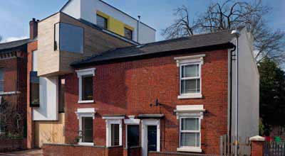 Front of the zero carbon house Birmingham showing the next door house too