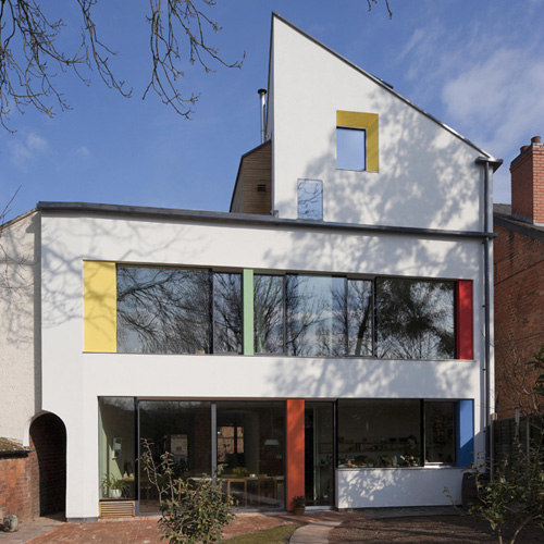 Rear view of the zero carbon house, Birmingham in daylight