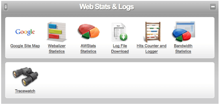 cp web stats and logs screen