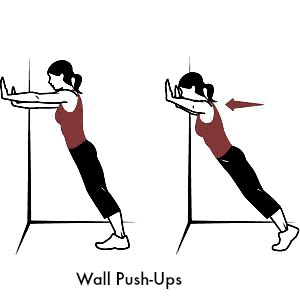 Wall Push-Ups - 10 Best Shoulder Exercises to Tone and Lose Arm Fat Fast