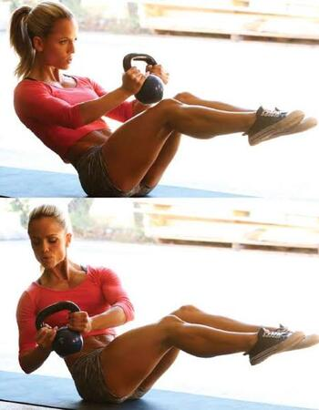 Kettlebell Russian Twist for Weight Loss and Flat Belly