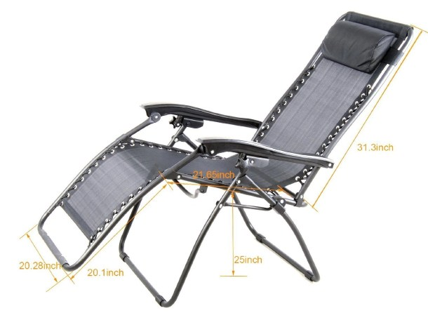 Outsunny Zero Gravity Recliner Lounge Patio Pool Chair