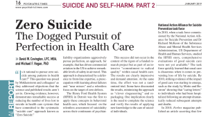 Zero Suicide The Dogged Pursuit of Perfection in Health Care