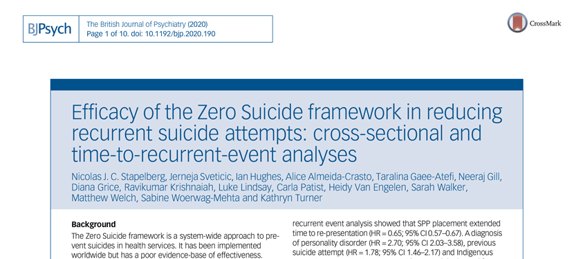 Efficacy of the Zero Suicide framework in reducing recurrent suicide attempts: cross-sectional and time-to-recurrent-event analyses (2020)