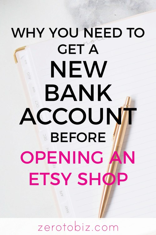 Opening an Etsy shop? Read why you'll need a separate bank account