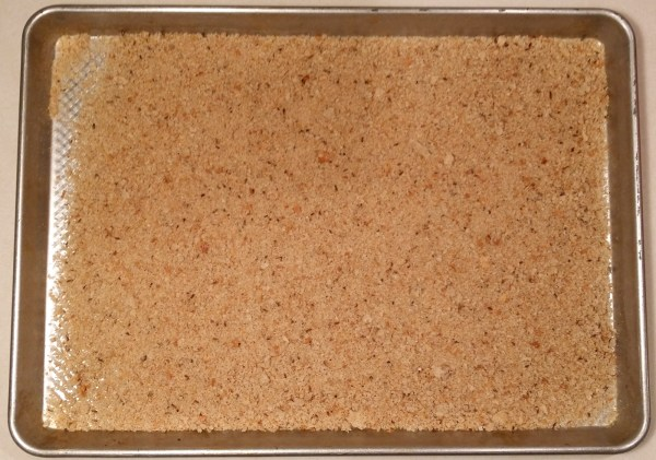 crumbs on cookie sheet