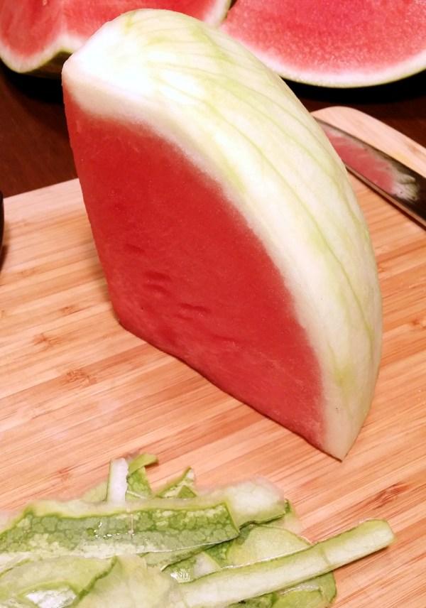 3 peeled watermelon quarter