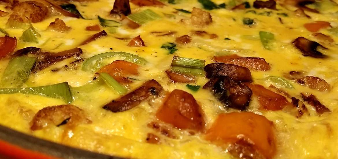 finished frittata side view