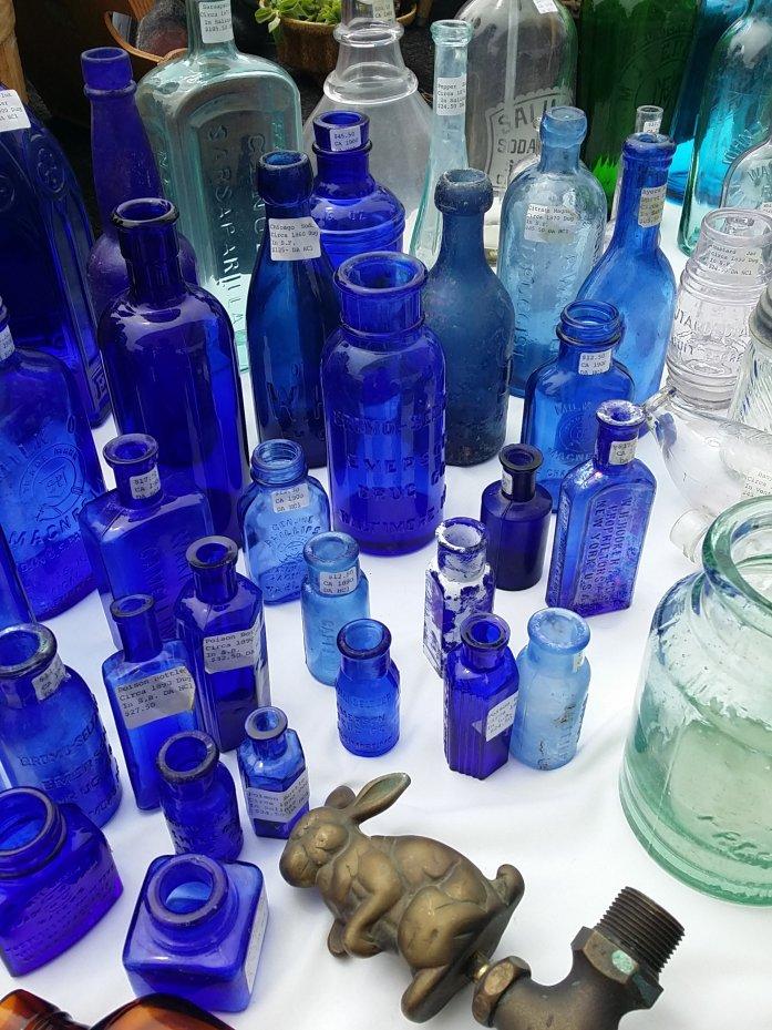 various blue bottles