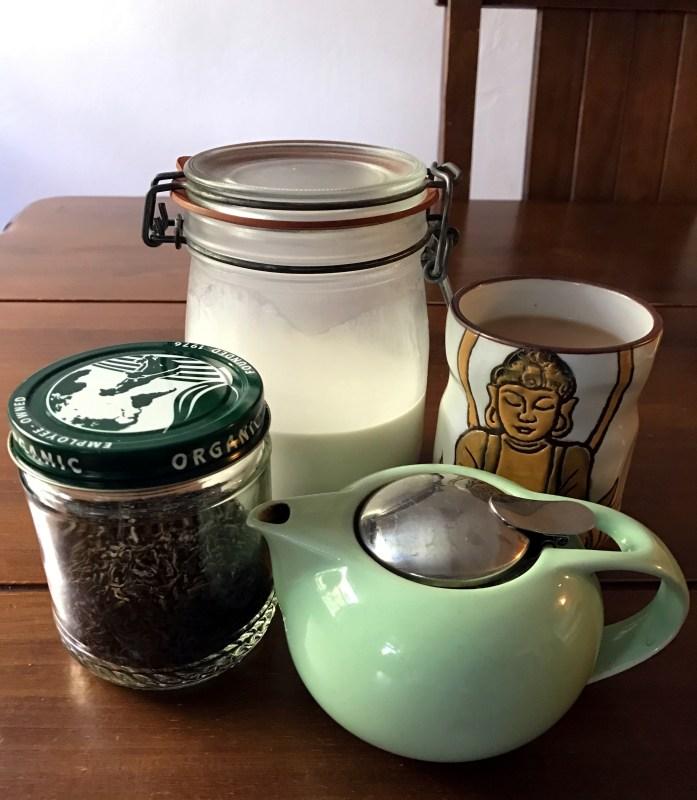 Tea with almond milk