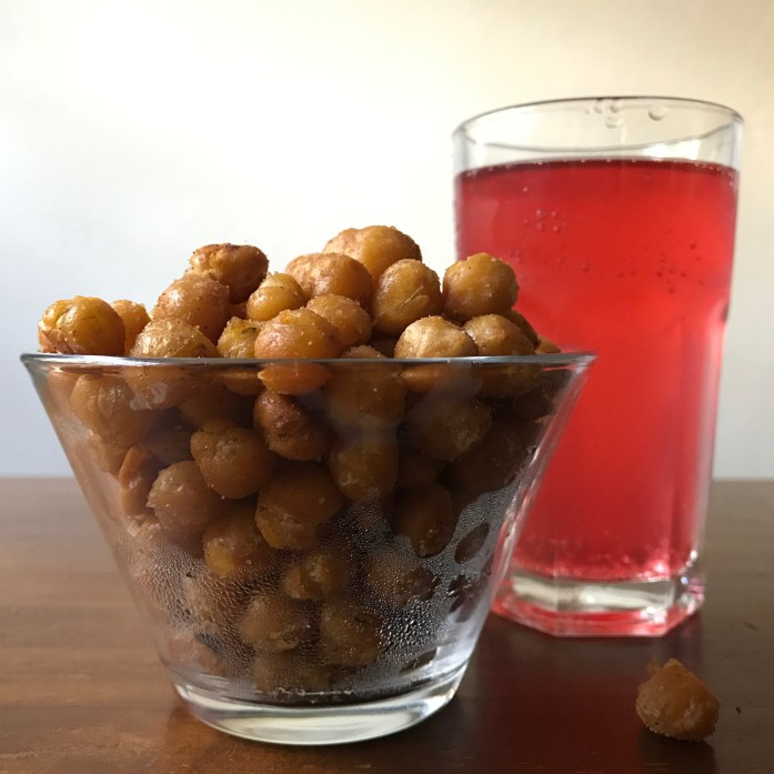 roasted chickpeas and homemade soda