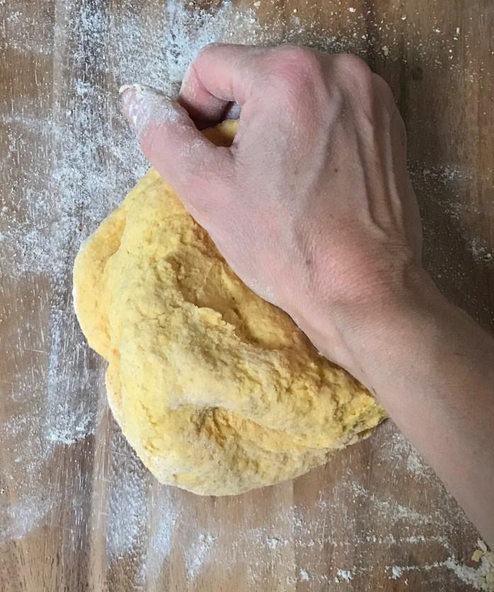 kneading fresh pasta dough