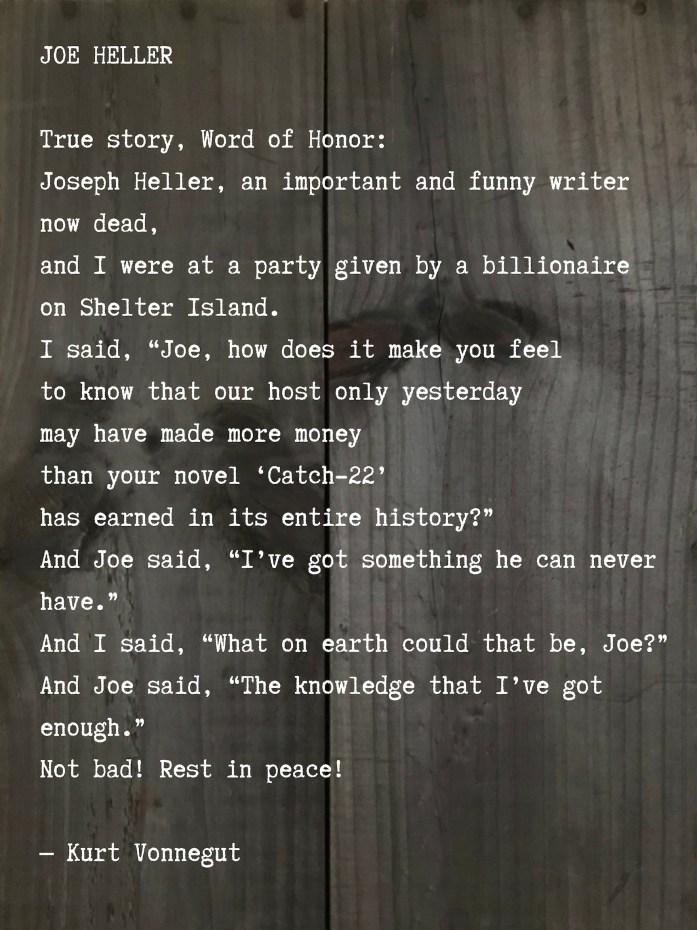 Kurt Vonnegut poem about Joseph Heller