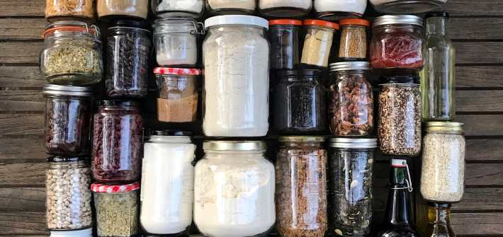 jars filled with bulk pantry staples