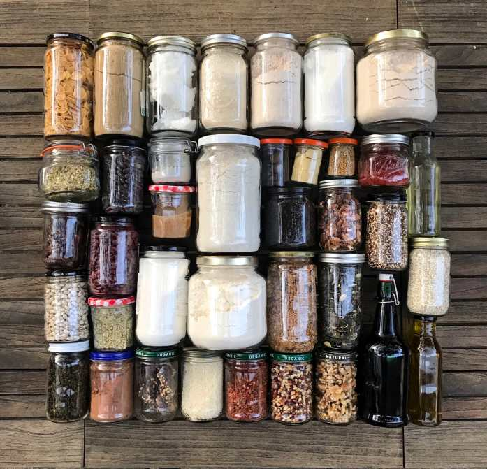 mason jars filled with bulk ingredients for zero waste shopping