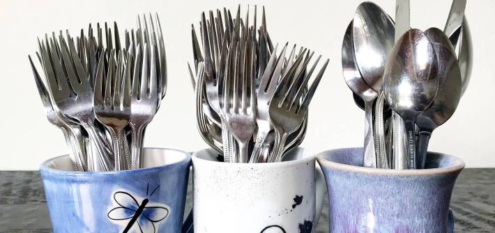 take real cutlery to events to cut down on plastic waste