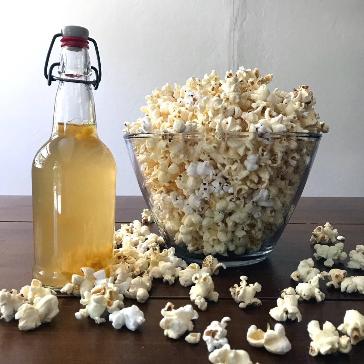 zero-waste snacks for kids: kombucha and popcorn