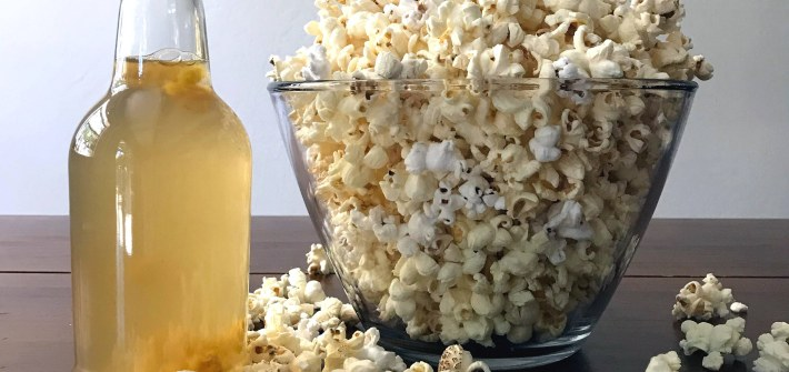zero-waste snacks for kids: kombucha and popcorn