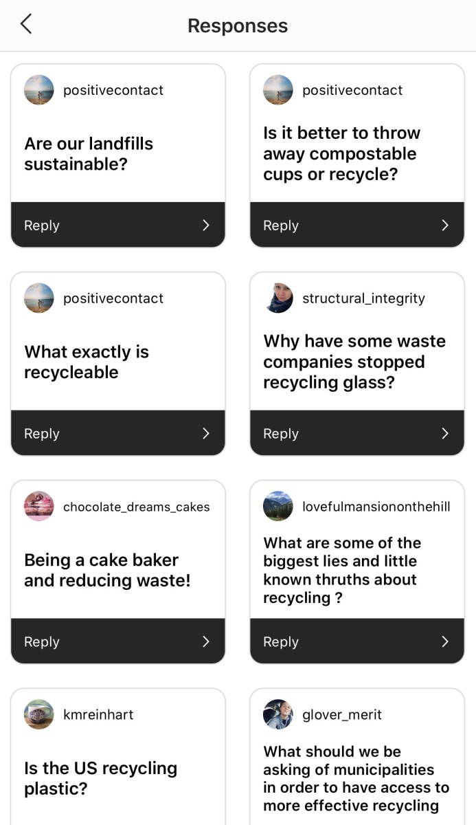 a grid of questions from followers via instagram stories
