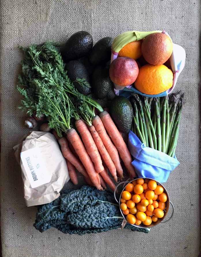 fresh produce spread across a burlap background