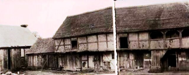 Fachwerkstall mit Oberlaube (rekonstruiert aus zwei alten Fotos)