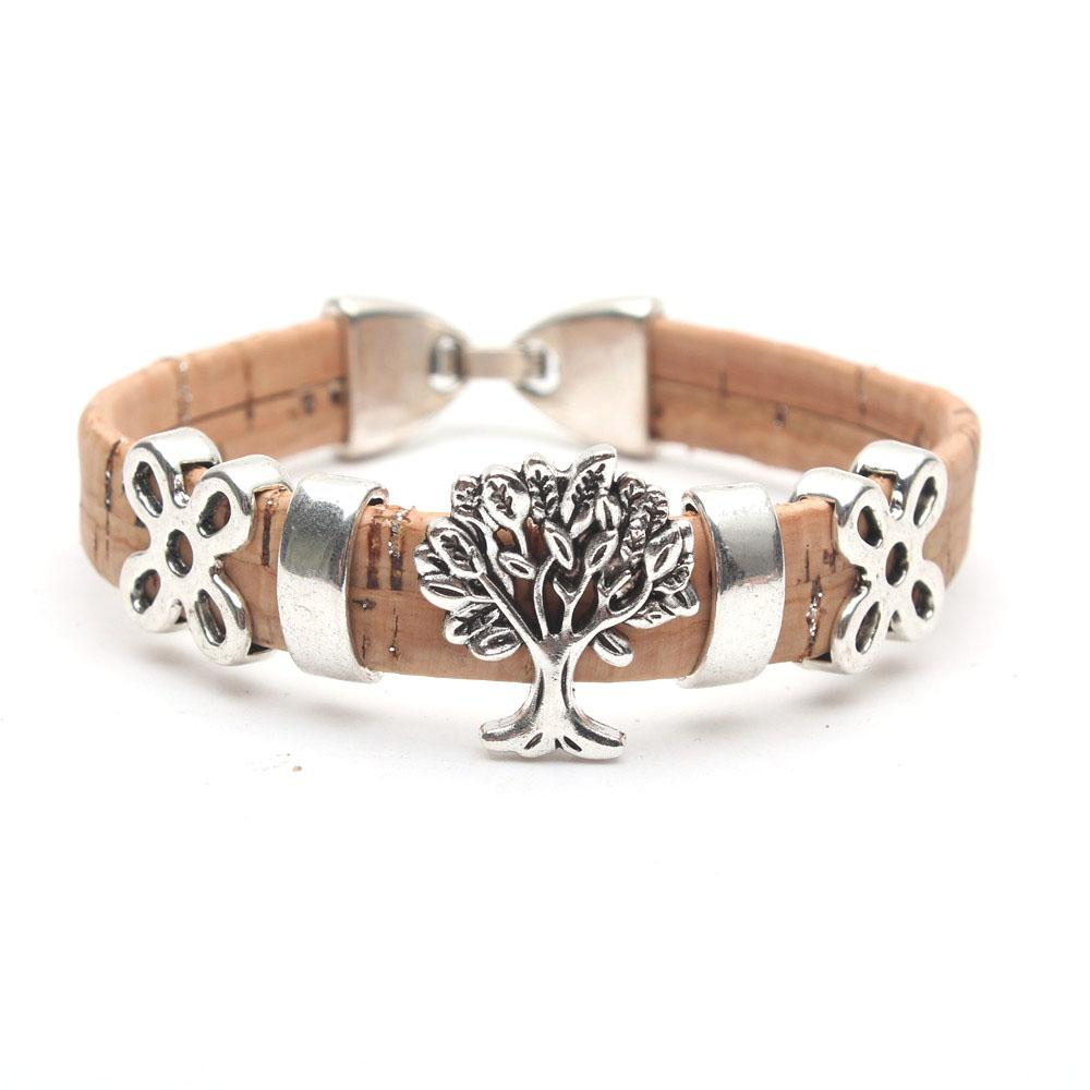 Natural cork made Tree of life women vintage Bracelet original lady handmade natural jewellery