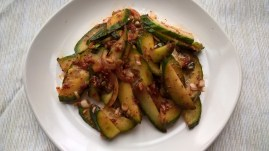 Korean cucumber salad with a spicy dressing (Oi muchim)
