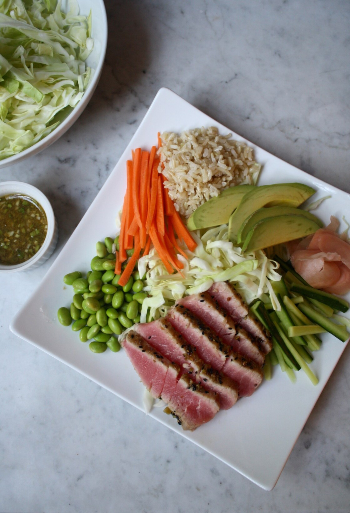 Photograph of Wasabi Crusted Ahi Tuna on a white plate with brown rice, carrots, edamame, cabbage, cucumbers and pickled ginger.