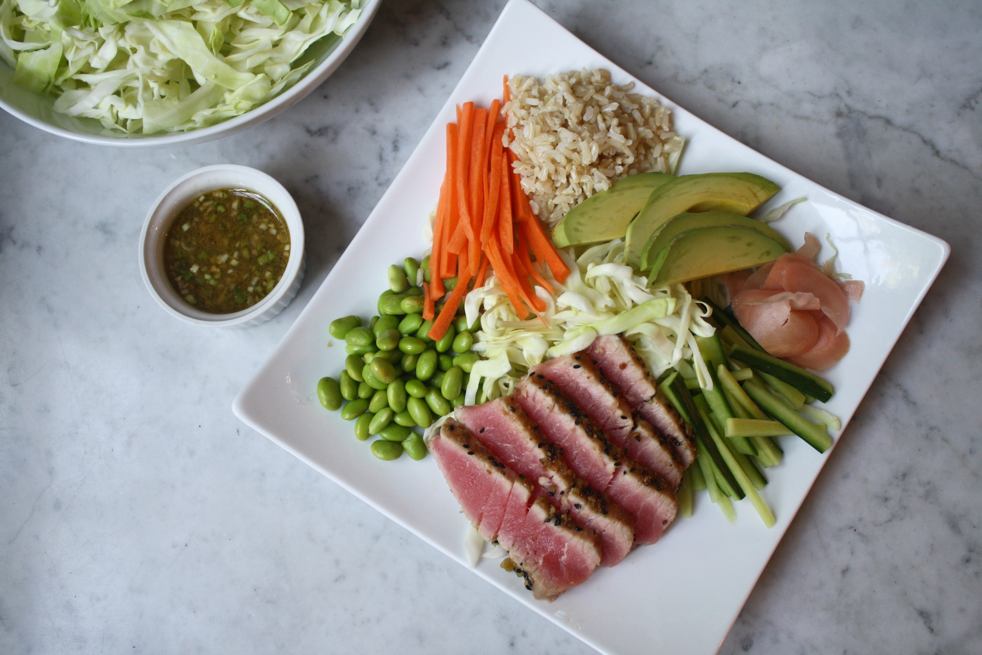 Asian Salad with Wasabi Crusted Ahi Tuna | Zestful Kitchen