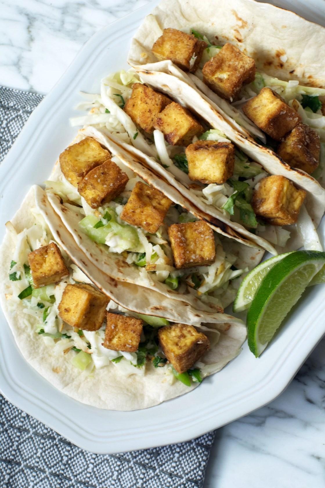 Crispy Tofu Tacos with Asian Pear Slaw | Zestful Kitchen
