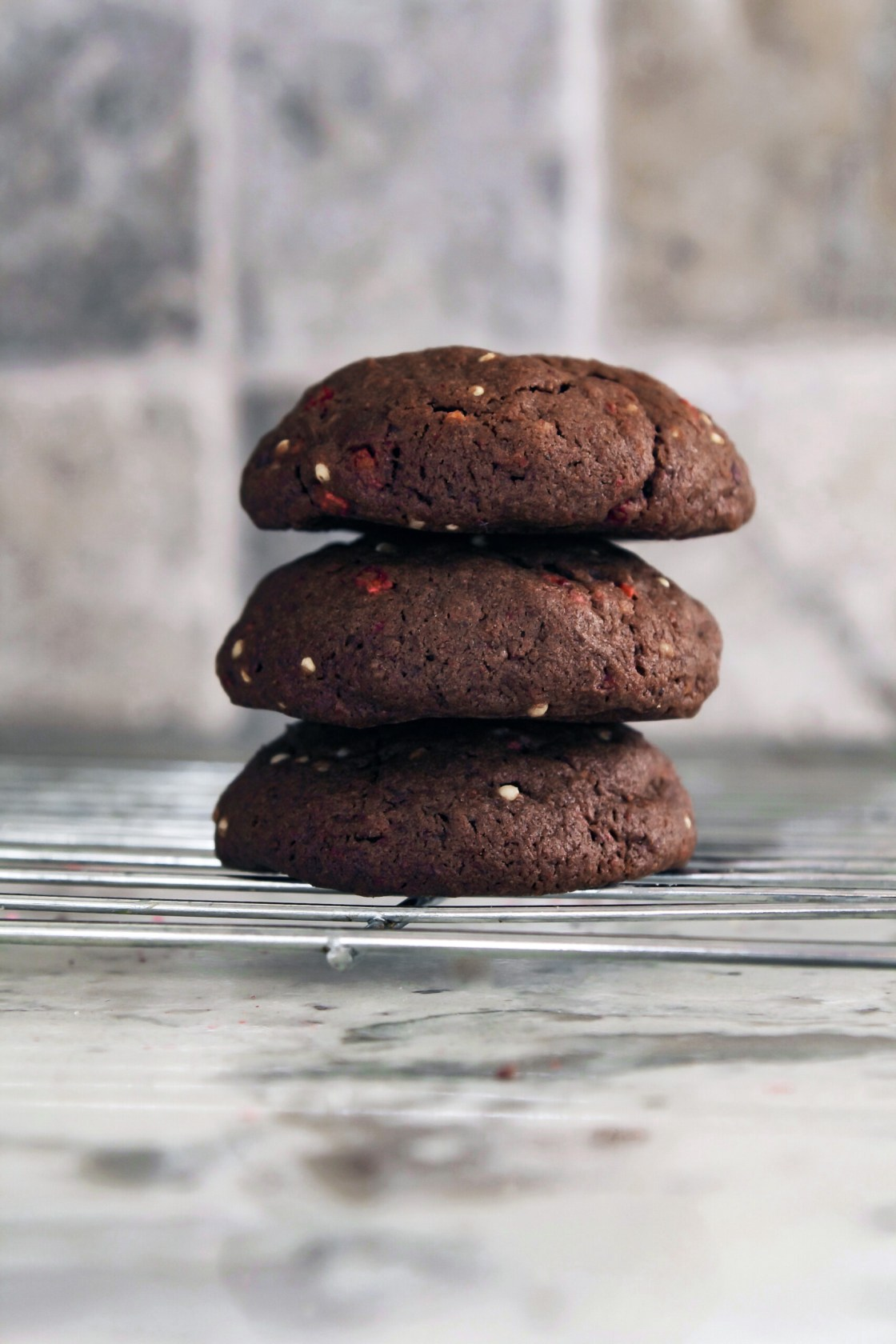 Photograph of Mexican Chocolate Cookies stacked on top of eachother.