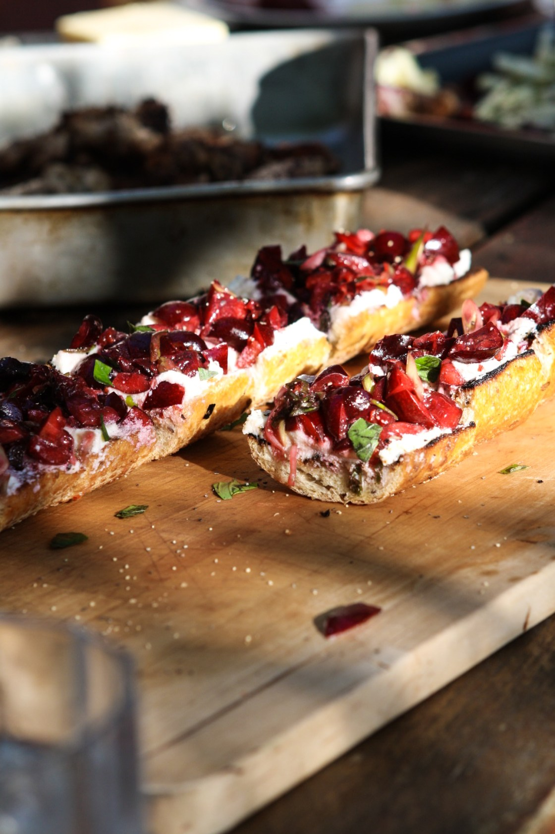 Casual Cocktail Party - Summer Cherry & Ricotta Baguette | Zestful Kitchen
