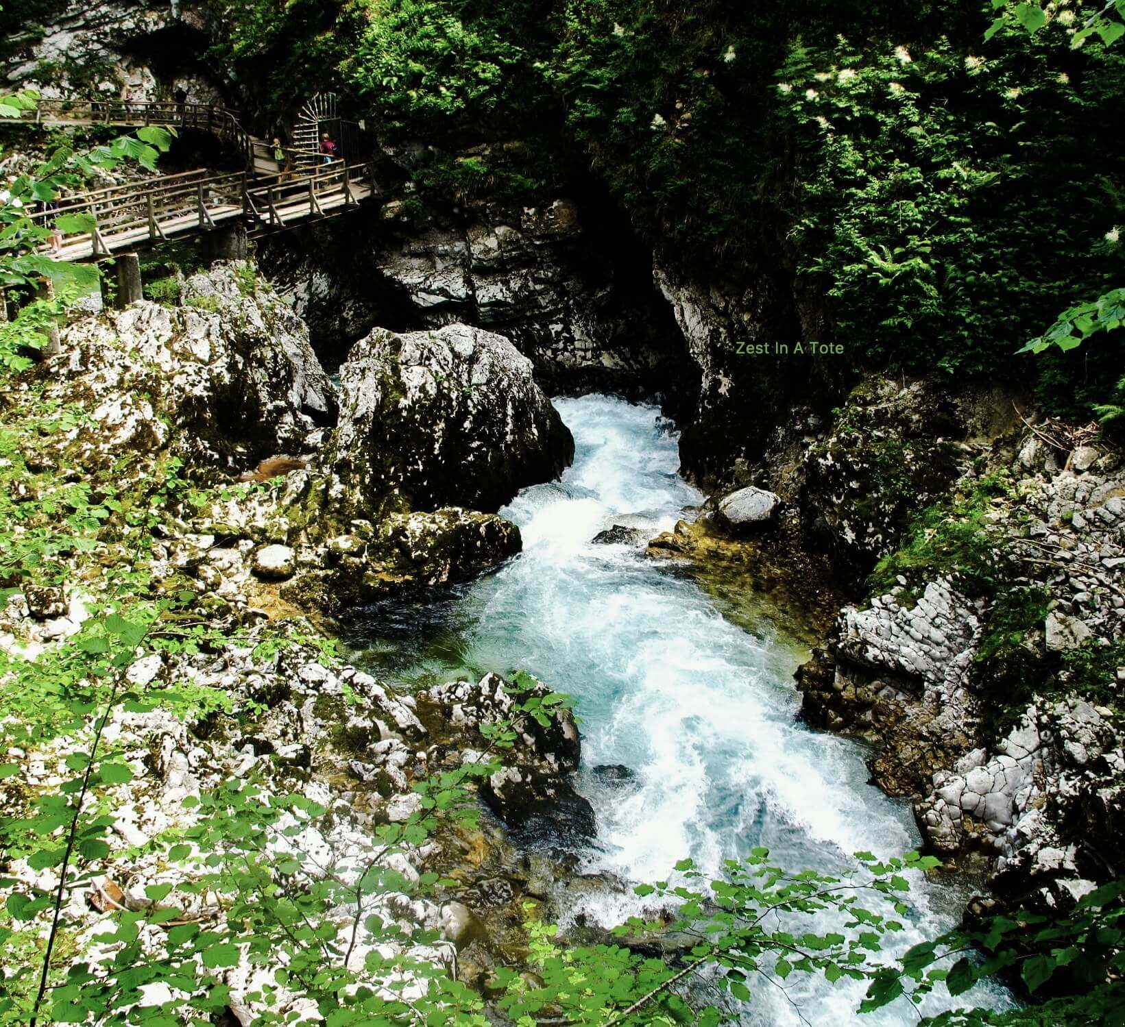 Enjoy the river flowing by in Vintgar Gorge