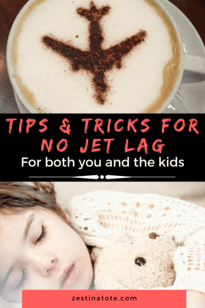An arsenal of tips and tricks - from pre-flight to on board to post flight - for ensuring no jet lag. Some tips for keeping jet lag away for kids as well. #howtodealwithjetlag #jetlaginkids #familytravel #nojetlag