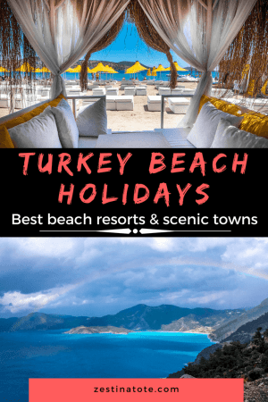 A visit to the Cultural Triangle of Turkey is an overwhelming experience of history, culture, city vibes, and natural beauty. And what could be better than finishing this off with a stay at one of the beach holiday resorts on the Turkish Riviera? Read for some of best beach resorts in Turkey and scenic towns. #turkey #turkishriviera #turkeybeachresorts #turkeybeachholidays #familytravel #turkeyholidayresorts