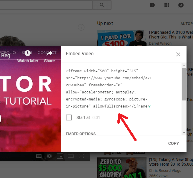 YouTube Embed Video iframe