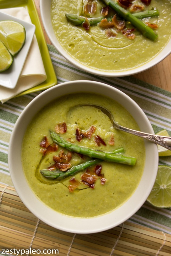 Autoimmune Split Pea Soup with Aparagus, Avocado and Bacon (Legume-Free, AIP) - Zesty Paleo